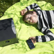 Stock Photo: Relaxing to music