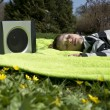 Relaxing to music — Stock Photo