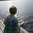 Young boy angling — Stock Photo