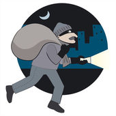 Thief with loot — Stock Vector