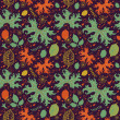 Decorative seamless pattern with autumn leaves — Imagen vectorial