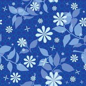 Floral seamless pattern in blue — Stock Vector