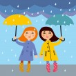 Two little girls in the rain, vector illustration — Stock Vector