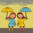 Two girls under umbrellas — Stock Vector
