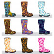 Set of colorful rubber boots — Stock Vector #13248144