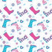 Seamless pattern with rain drops and colorful rubber boots — Stock Vector