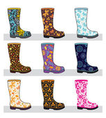 Set of colorful rubber boots — Vector de stock