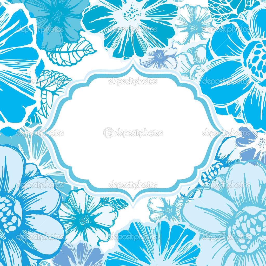 Floral frame or card template with decorative flowers and place for your text — Stock Vector #13248087