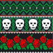 Mexican folk art skulls and roses pattern — Stock Vector