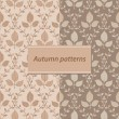 Set of two autumn seamless patterns — Stock Vector