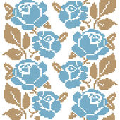 Decorative seamless pattern with embroidered roses — Vecteur