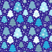 Winter trees seamless pattern — Vector de stock