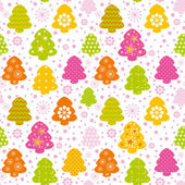 Colorful christmas tree seamless background — Stok Vektör