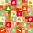 Decorative seamless christmas pattern patchwork style — Stock Vector