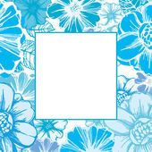 Floral card in blue — Stock Vector