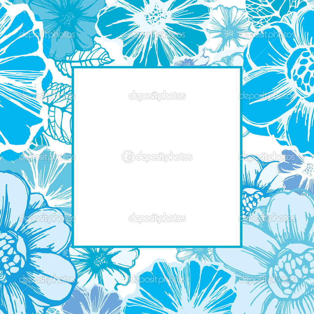 Floral frame or card template with decorative flowers in blue — Vektorgrafik #14839871