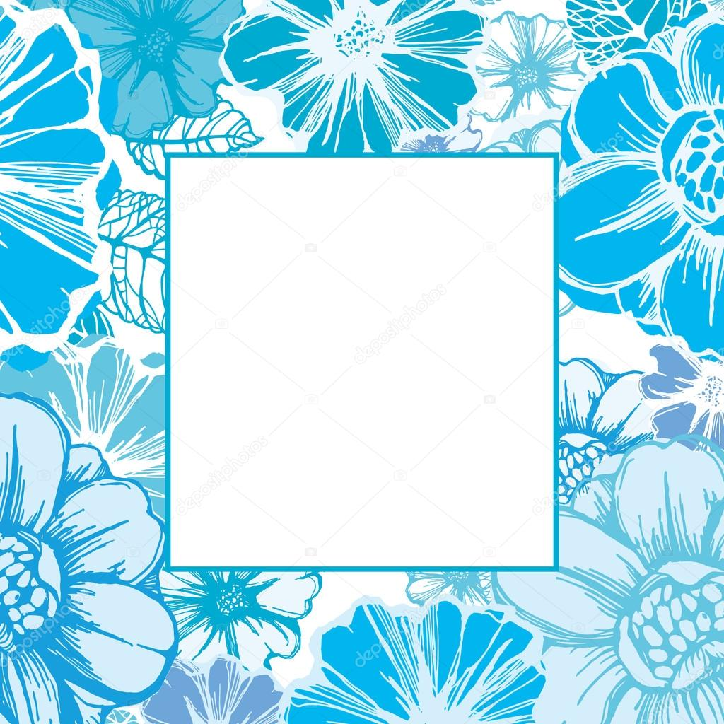 Floral frame or card template with decorative flowers in blue  Stok Vektr #14839871