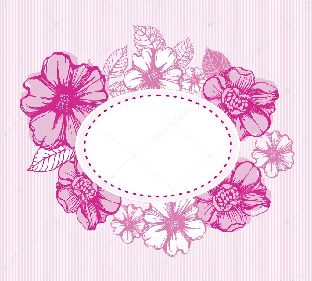 Romantic vintage floral card with decorative flowers in pink — Stock Vector #15726497