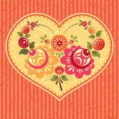 花卉卡用的心 — 图库矢量图片