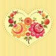 Floral card with heart — Stock Vector
