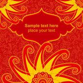 Red ornamental invitation card — Stock Vector