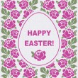 Easter card template with pink flowers — Stock Vector