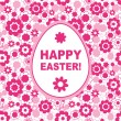 Stock Vector: Easter card template with pink flowers