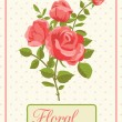 Vector de stock : Floral background greeting card with blooming rose
