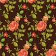 Blooming roses seamless pattern — Stock Vector