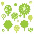 Royalty-Free Stock Vector Image: Set of cute green trees