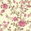 Floral seamless pattern of blooming roses — Imagen vectorial