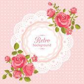 Cartão flor em estilo retro — Vetor de Stock