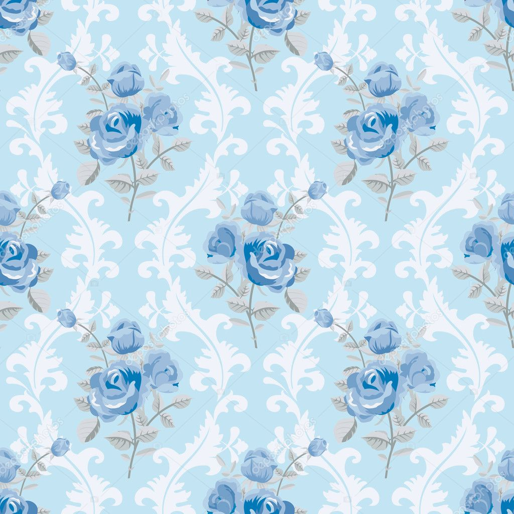 Papel tapiz floral de rosas azules — Vector de stock © Irmairma