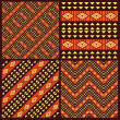 Set of tribal african seamless patterns — Stock Vector