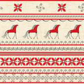 Folk ornamental pattern with horse — Stock Vector