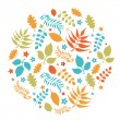 Stock Vector: Colorful leaves autumn background