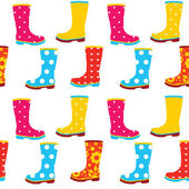 Seamless pattern of colorful gumboots — Stock Vector