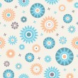 Decoratiive stars and flowers seamless pattern — Stock Vector