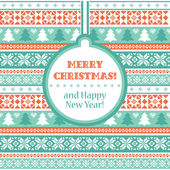 Christmas card with traditional ornaments — Vector de stock
