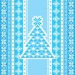 Decorative card with christmas tree in blue — Imagen vectorial