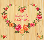 Floral frame in the shape of heart, wood background — Stock Vector