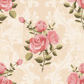 Classic rose pattern seamless wallpaper — Stock Vector