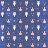 Kids royal pattern with crowns and shields — Vettoriale Stock
