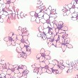 Seamless floral pattern of pink flowers — Stock Vector