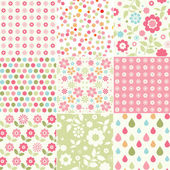 Collection of baby girl seamless patterns — Stock Vector