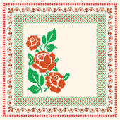 Embroidery with roses and ornamental frame — Stock Vector
