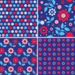 Set of blue floral seamless patterns — Stock Vector #49585765