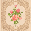 Roses in wooden frame — Stock Vector #50005027