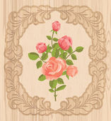 Roses in wooden frame — 图库矢量图片