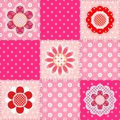 Patchwork pattern with flowers — Vecteur